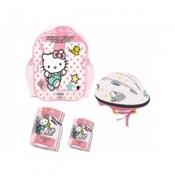 Set protectii, casca si ghiozdan Hello Kitty