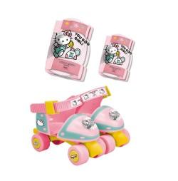 Set pentru copii patine si protectii Hello Kitty
